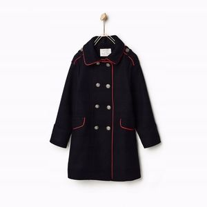 Zara girls blue navy pea coat with red trim